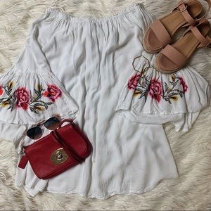 Flowy, embroidered, white dress
